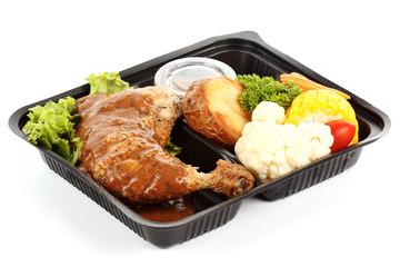 Roast chicken with black pepper sauce