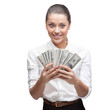 young cheerful businesswoman holding money