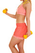 woman in orange fitness side curl body