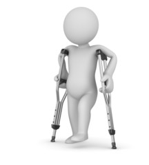 Crutch and man