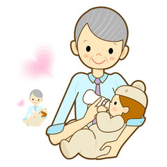 Grandmother give a baby milk a bottle. Marriage and Parenting Ch