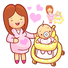 Baby walker playing. Marriage and Parenting Character Design Ser