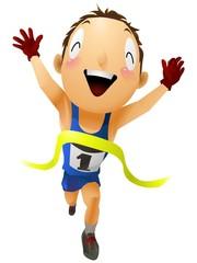 マラソン選手ゴール タスキなし