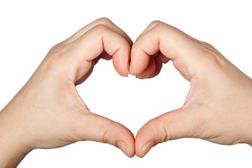 Fingers forming a heart shape isolated on white background