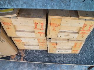 Cardboard boxes on pallet.