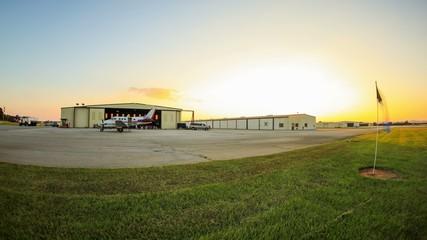 Skydive Time Lapse Landing Area Pan Sunset