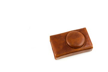 leather case camera isolated on white
