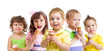 happy kids with ice cream isolated