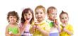 happy kids with ice cream isolated
