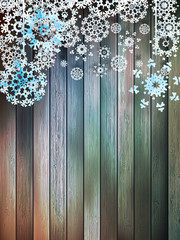 Christmas snowflakes on wood. plus EPS10