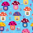mushroom houses kids pattern