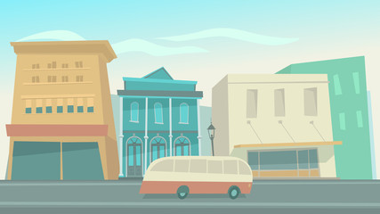 big city with cars cartoon vector illustration, flat style