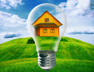 Light bulb with a house standing inside in green field. Eco tech
