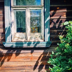 Window of a wooden Russian house. Suzdal, Russia.