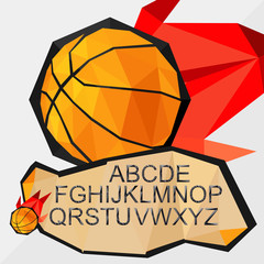 sports concept, basketball with font  by triangles, polygon