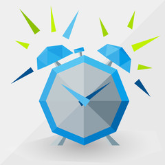ringing blue alarm clock by triangles, polygon
