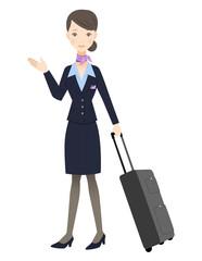スチュワーデスと旅行鞄