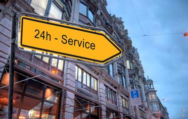 Strassenschild 24 - 24h Service