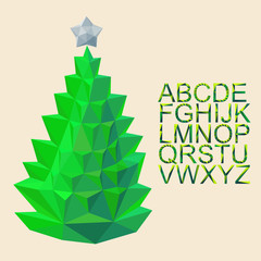 vector christmas fir  with font by triangles, polygon