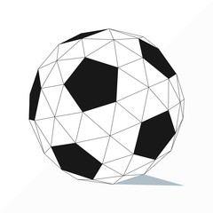soccer ball by triangles, polygon vector illustration