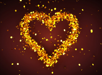 3d render image of heart symbol with many golden coins