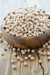 Bowl with raw chickpeas over wooden background, vertical shot