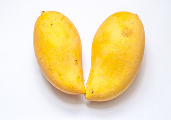 2 Size of ripe mango on isolate white background