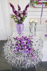 various flower florist arrangement in glass vase