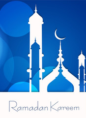 mosque ramadan kareem concept for muslim community blue colorful