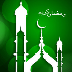 Ramadan Kareem religious green colorful shiny background vector