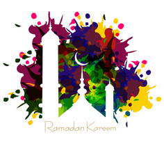 Ramadan kareem card with nice grungy colorful mosque and white B