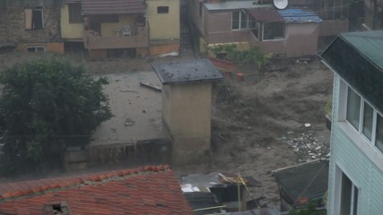 Rain flood in Bulgaria, Varna. Tsunami flood.
