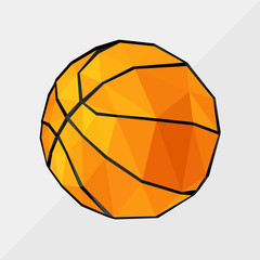 basketball  by triangles, polygon vector illustration