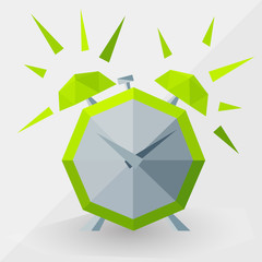 Green alarm clock by triangles,  polygon  vector illustration