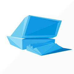 blue personal computer icon by triangles, polygon