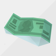 money icon (american  dollar) by triangles, polygon