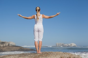 Blonde woman standing on beach on rock with arms out