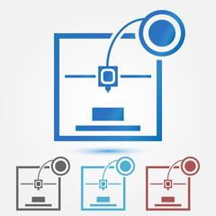 Minimal 3d printer vector icon