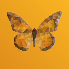 Orange bright vector butterfly in polygonal technique