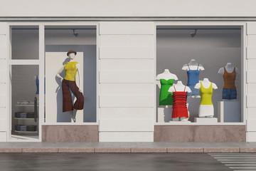 Schaufenster von Modeladen mit Puppen