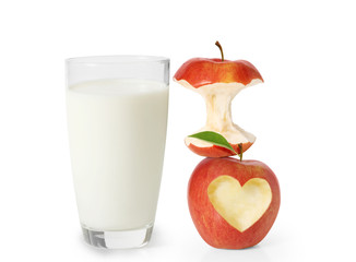 milk in the glass and apple