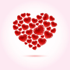 Red bright vector heart made of many abstract polygonal hearts
