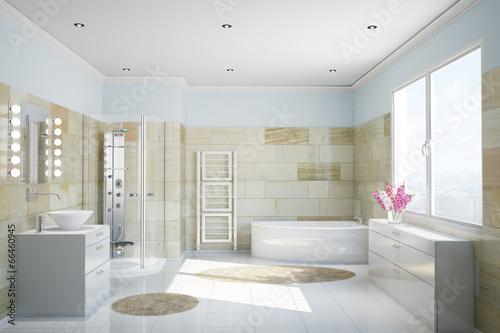 Bad mit Fliesen aus Terrakotta - 66460945