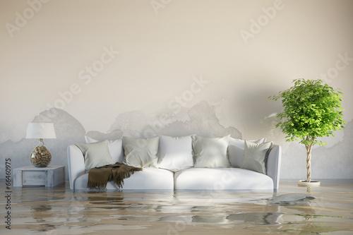 Leinwandbild Motiv Wasserschaden im Haus nach Überschwemmung