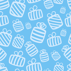 Seamless blue vector gift pattern