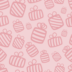 Seamless pink vector gift pattern
