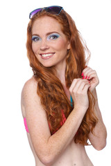 Beauty Girl Portrait with Colorful Makeup, Nail polish