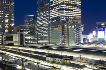 Station and office building, Night, Tokyo
