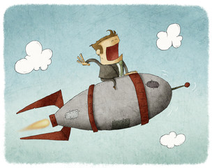 Businessman sitting on a rocket and flying through the air
