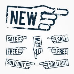 Vector set: rubber stamps: new, sale, free, sold out